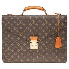 "Louis Vuitton ""Ambassador"" Satchel in Monogram canvas and natural leather"