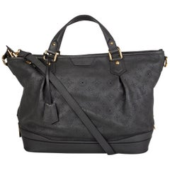 LOUIS VUITTON Anthracite grey leather Monogram MAHINA STELLAR GM Shoulder Bag