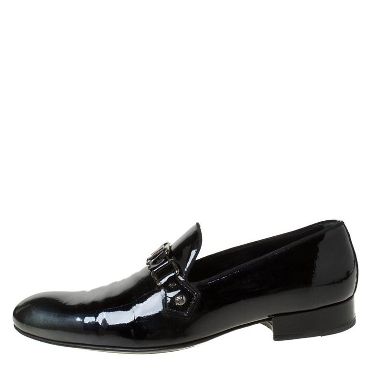 Men's Louis Vuitton Anthracite Patent Leather Glass Dome Loafers Size 42.5 For Sale