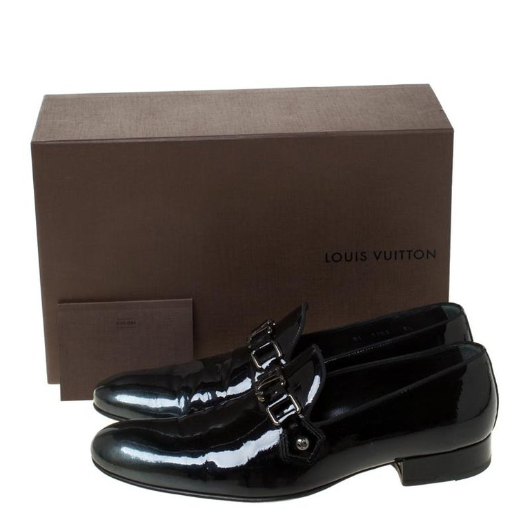 Louis Vuitton Anthracite Patent Leather Glass Dome Loafers Size 42.5 For Sale 3