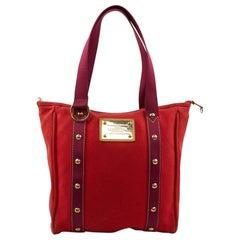 LOUIS VUITTON Antigua Bag In Red Cotton Canvas
