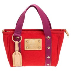 Louis Vuitton Antigua Cabas Red Canvas Shoulder Bag PM