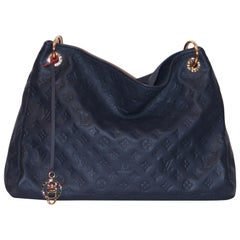 Louis Vuitton Artsy MM Monogram Empreinte Navy and Red Tote Bag