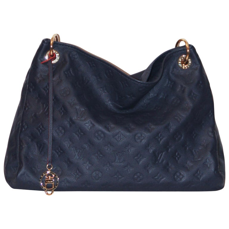 77442531edbf Louis Vuitton Artsy MM Monogram Empreinte Navy and Red Tote Bag For Sale