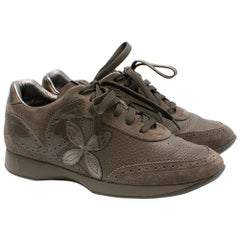 Louis Vuitton ash lace up suede & leather sneakersSIZE 37