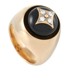 Louis Vuitton B Blossom Signet 18k Yellow Gold Onyx and Diamond Cocktail Ring