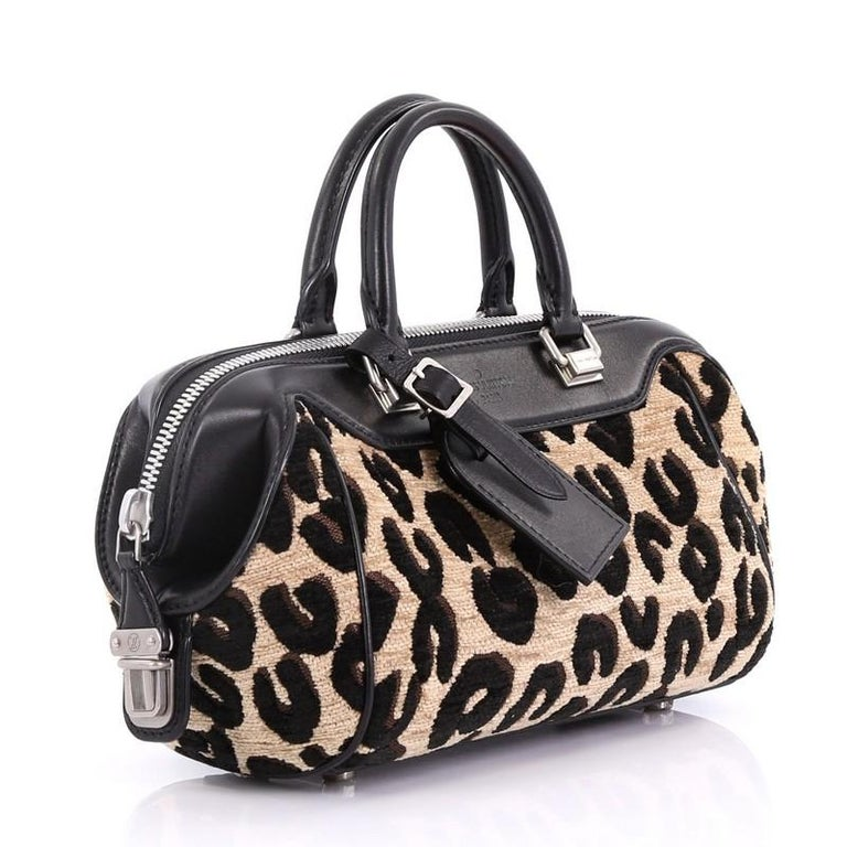 9b543ef75292 Black Louis Vuitton Baby Bag Limited Edition Stephen Sprouse Leopard  Chenille For Sale