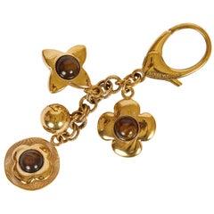 Louis Vuitton Bag Charm Keychain Gold Brown
