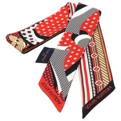 LOUIS VUITTON bandeau BB PopLV Twilly Womens scarf M73865 white x black x red