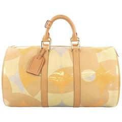 Louis Vuitton Barrel Keepall Handbag Fleur Monogram Vernis 45