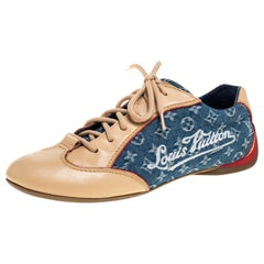 Louis Vuitton Beige/Blue Monogram Denim And Leather Low Top Sneakers Size 36