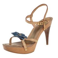 Louis Vuitton Beige/Blue Monogram Denim Floral Platform Strappy Sandals Size 39