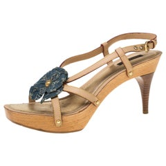 Louis Vuitton Beige/Blue Monogram Floral Platform Strappy Sandals Size 39.5