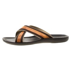 Louis Vuitton Beige/Brown  Trim Cross Strap Flat Slides Size 42.5