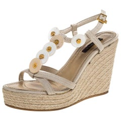 Louis Vuitton Beige Canvas Medallion Leather Detail Espadrille Wedge Size 37