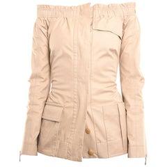 Louis Vuitton Beige Cotton Off Shoulder Fitted Jacket - 38