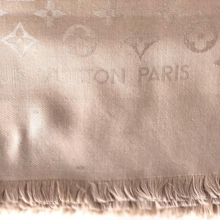 Louis Vuitton Beige/Dune Monogram Shawl Scarf/Wrap Scarf Size 56X56 In Excellent Condition For Sale In Scarsdale, NY