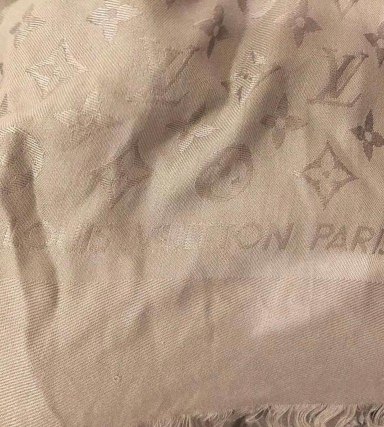Louis Vuitton Beige/Dune Monogram Shawl Scarf/Wrap Scarf Size 56X56 For Sale 1