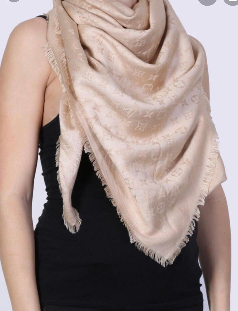 Louis Vuitton Beige/Dune Monogram Shawl Scarf/Wrap Scarf Size 56X56 For Sale 2
