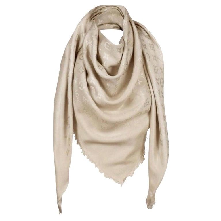 Louis Vuitton Beige/Dune Monogram Shawl Scarf/Wrap Scarf Size 56X56 For Sale