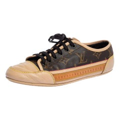 Louis Vuitton Beige Leather And Brown Monogram Canvas Capucine Sneaker Size 37.5