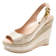 Louis Vuitton Beige Monogram Canvas And Leather Espadrille Wedge Size 39.5
