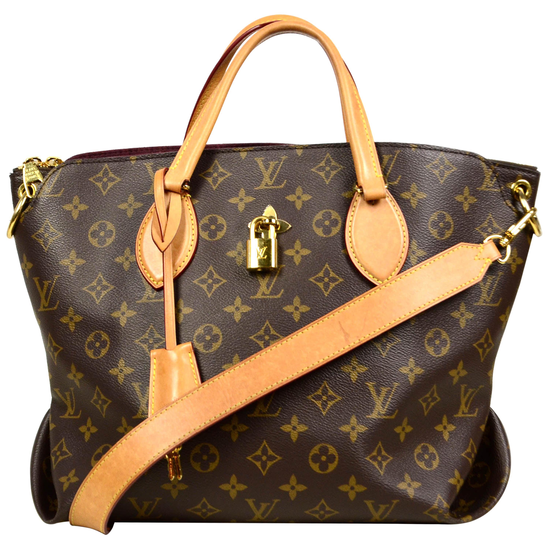 Louis Vuitton Beige Monogram Flower MM Zipped Tote Bag w/ Strap