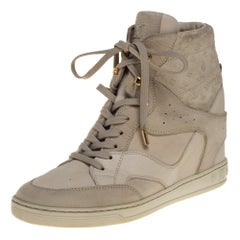 Louis Vuitton Beige Monogram Suede And Leather Millenium Wedge Sneakers Size 39