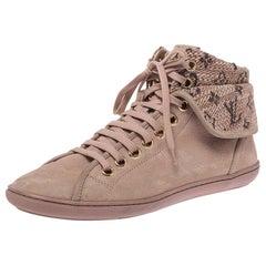 Louis Vuitton Beige Monogram Tweed & Nubuck Brea Sneaker Boots Size 38.5