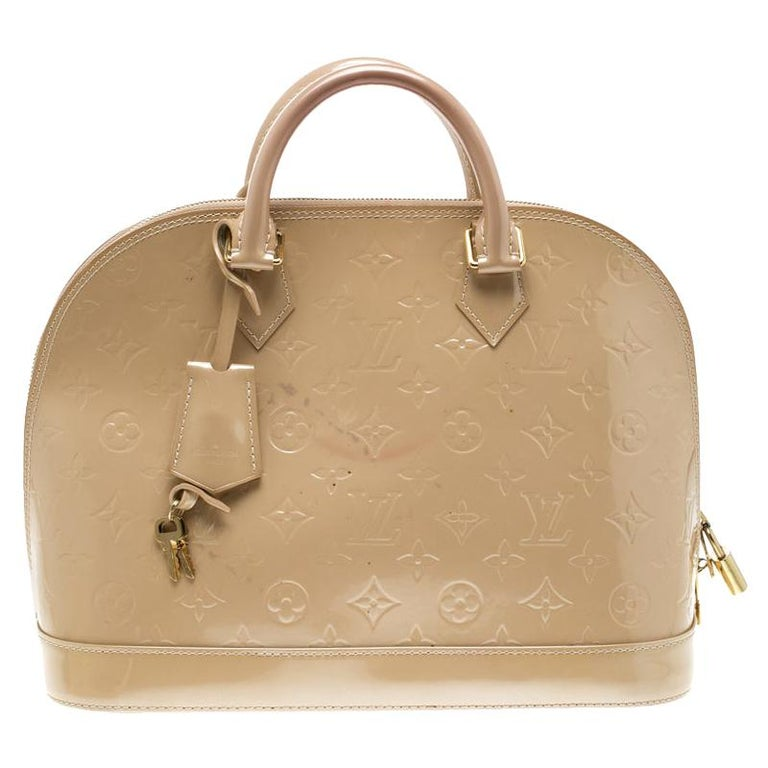 Louis Vuitton Beige Monogram Vernis Alma PM Bag For Sale