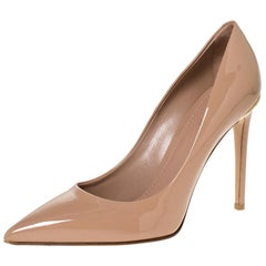 Louis Vuitton Beige Patent Leather Eyeline Pointed Toe Pumps Size 38.5