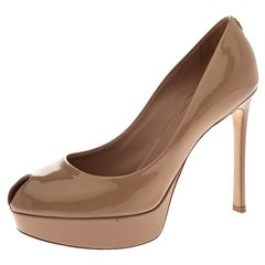 Louis Vuitton Beige Patent Leather LV Logo Peep Toe Platform Pumps Size 37.5