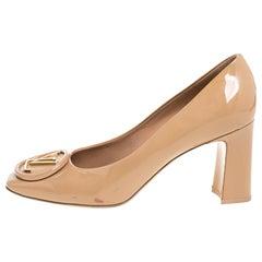 Louis Vuitton Beige Patent Leather Madeleine Logo Block Heel Pumps Size 40