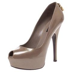 Louis Vuitton Beige Patent Leather Oh Really! Peep Toe Platform Pumps Size 37