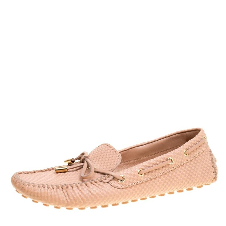 dbe7068036133 Louis Vuitton Beige Petit Damier Embossed Leather Gloria Bow Loafers Size 39  For Sale