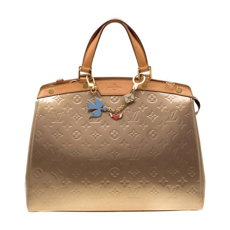 Louis Vuitton Beige Poudre Monogram Vernis Brea GM Bag For Sale