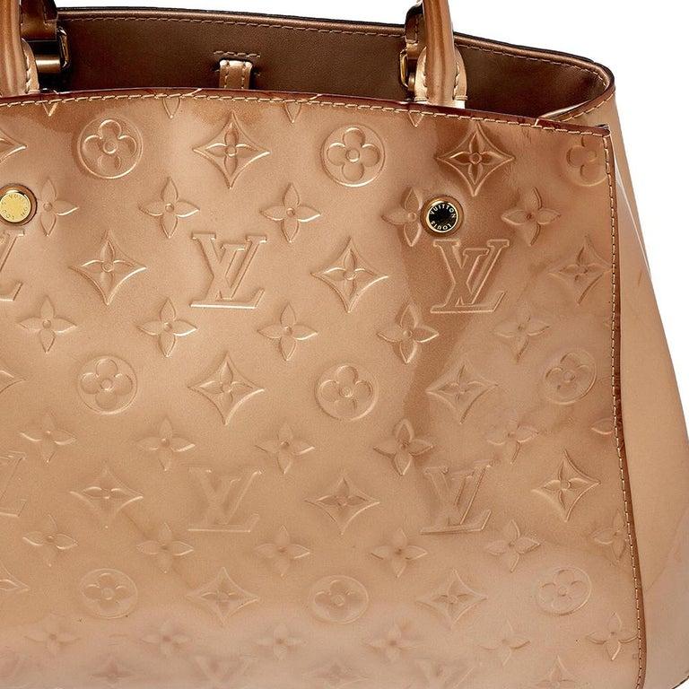 Women's Louis Vuitton Beige Poudre Monogram Vernis Montaigne MM Bag
