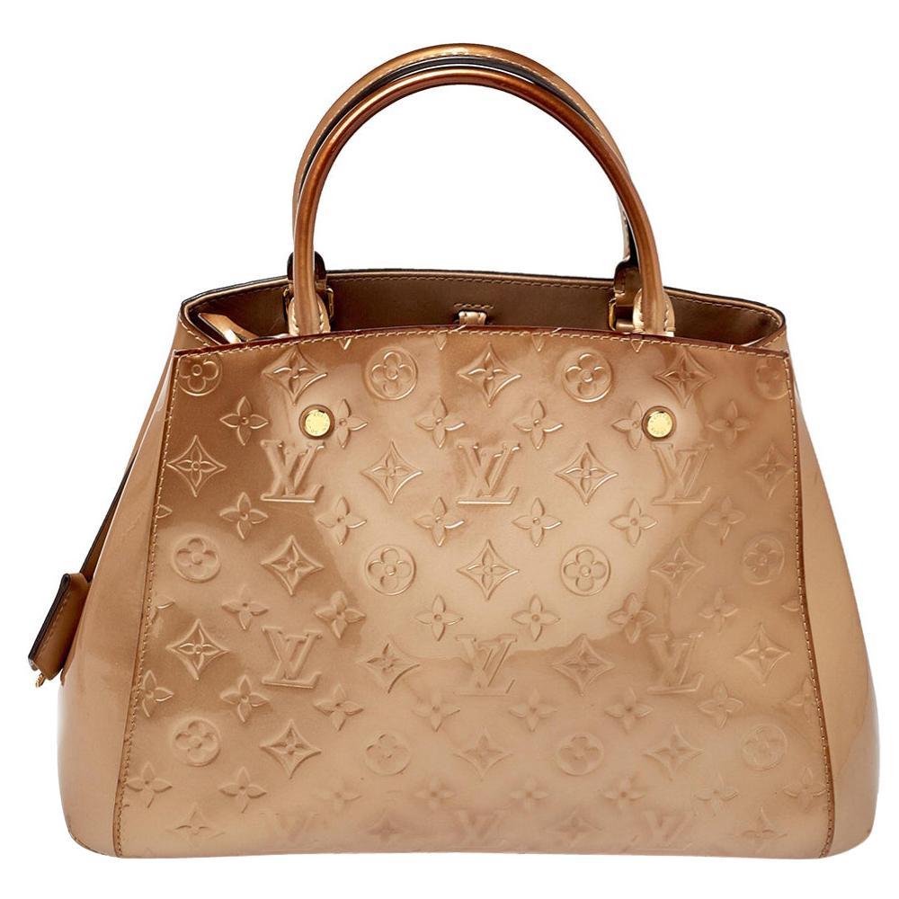 Louis Vuitton Beige Poudre Monogram Vernis Montaigne MM Bag