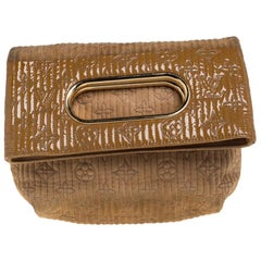Louis Vuitton Beige/Safran Monogram Suede and Patent Leather  Afterdark Clutch
