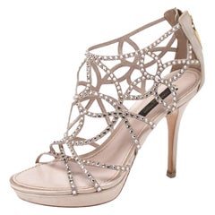 Louis Vuitton Beige Satin And Suede Crystal Embellished Cut Out Sandals Size 36