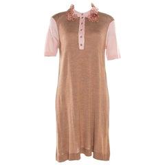 Louis Vuitton Beige Silk Knit Floral and Bead Applique Polo T-Shirt Dress L