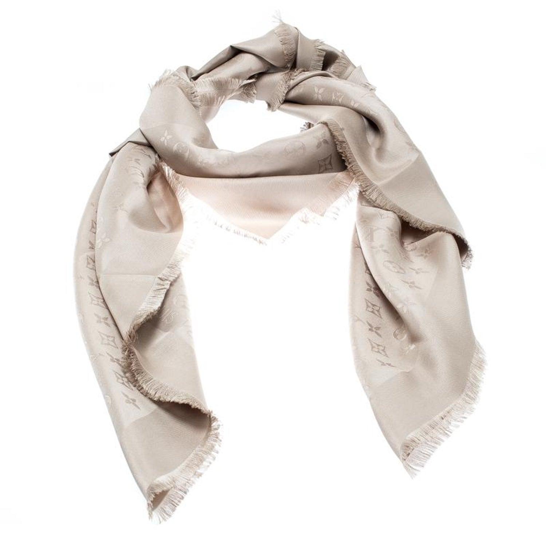 039df3acec8 Louis Vuitton Beige Silk Monogram Fringed Edge Scarf For Sale at 1stdibs