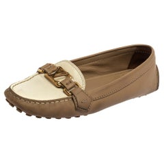 Louis Vuitton Beige/White Leather Oxford Loafers Size 39