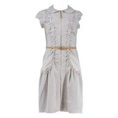 Louis Vuitton Belted Pinstriped Dress