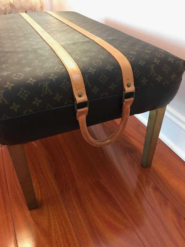 Modern Louis Vuitton Bench with Brass Legs For Sale
