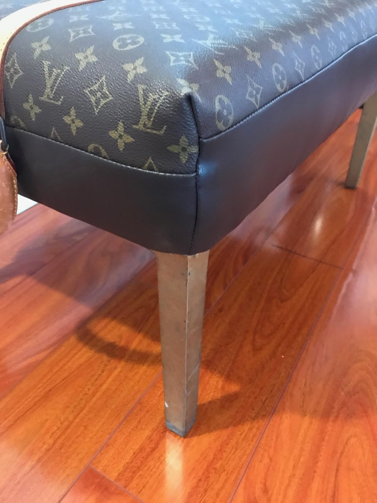 Contemporary Louis Vuitton Bench with Brass Legs For Sale