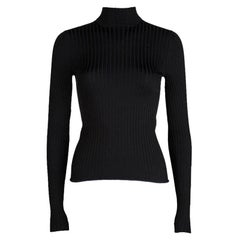 Louis Vuitton Bicolor Rib Knit High Neck Long Sleeve Top XS