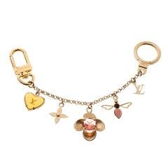 Louis Vuitton Bijou Sac Chaine Bee Fleur Enamel Gold Tone Bag Charm