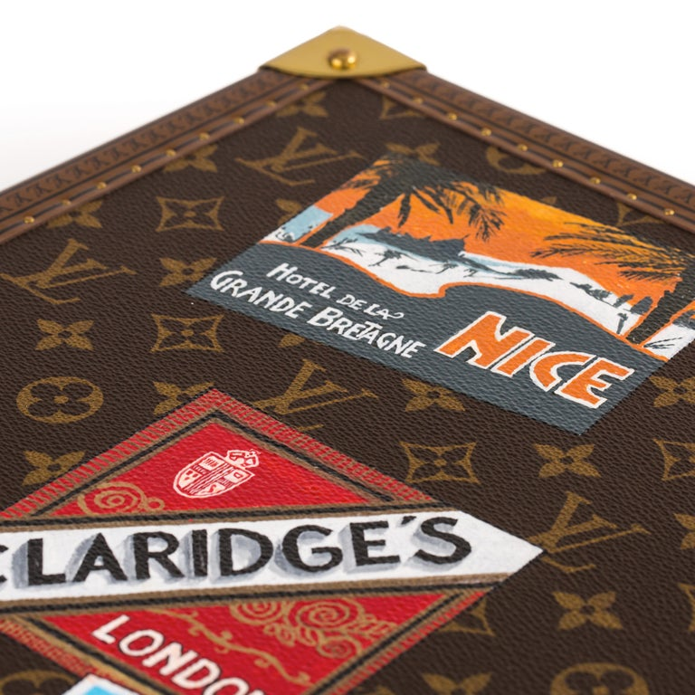Louis Vuitton Bisten Suitcase 65 Monogram with Stickers For Sale 7