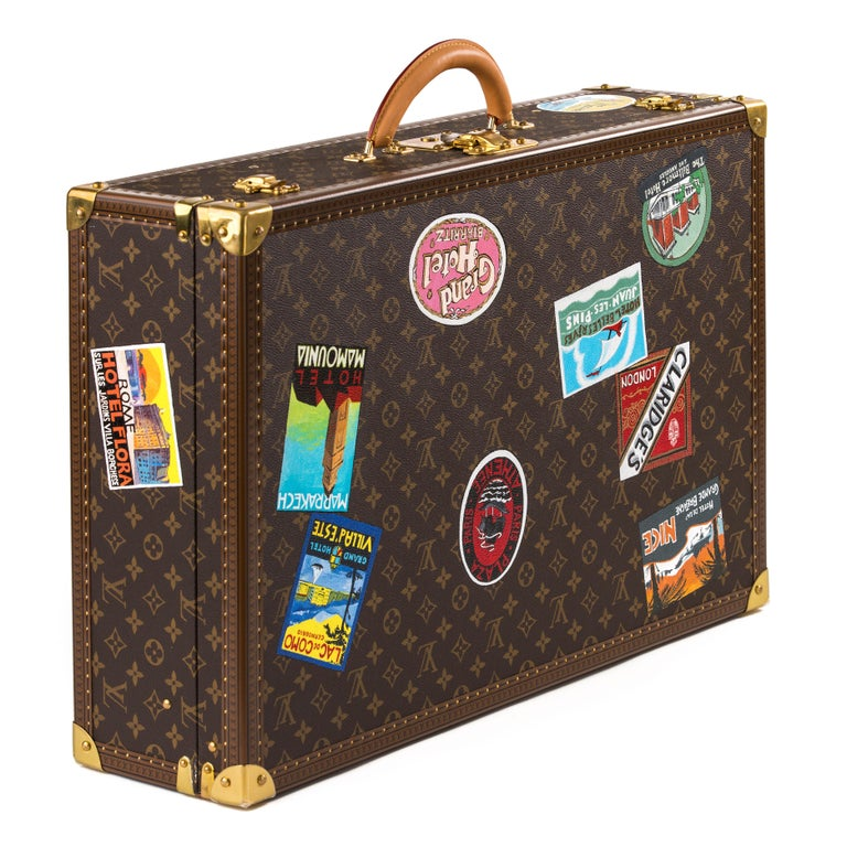 American Colonial Louis Vuitton Bisten Suitcase 65 Monogram with Stickers For Sale